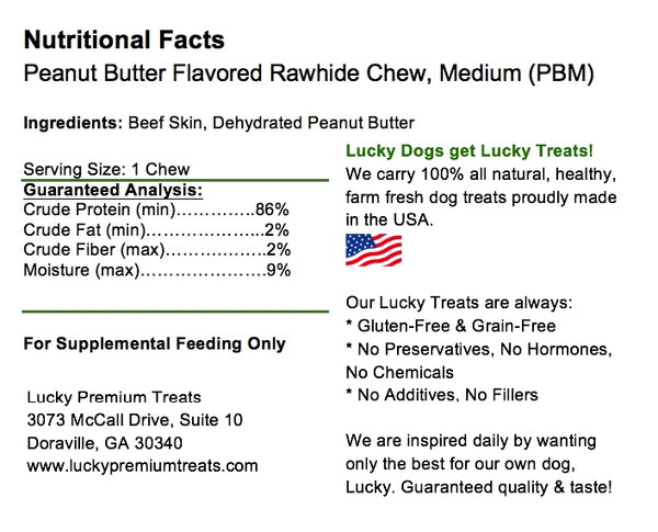 Lucky Premium Treats Peanut Butter Flavored Rawhide Dog Treats for Medium Dogs, Nutrition Label