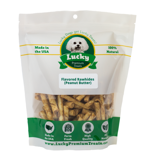 Lucky Premium Treats Peanut Butter Flavored Rawhide Dog Treats for Toy Size and Lap Dogs, Bag