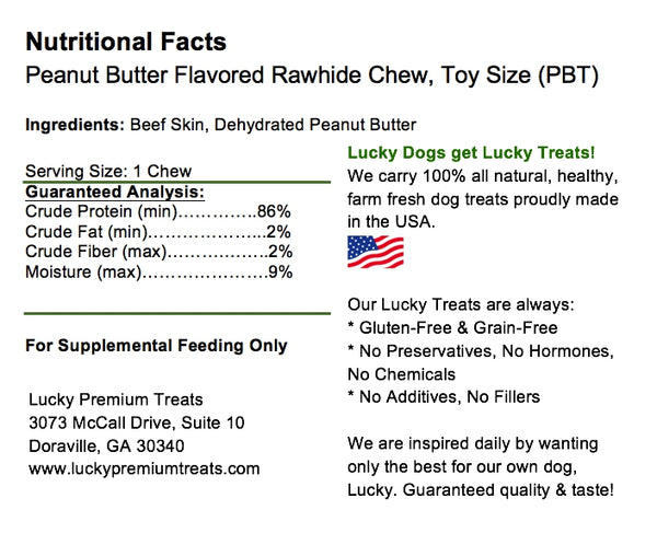 Lucky Premium Treats Peanut Butter Flavored Rawhide Dog Treats for Toy Size and Lap Dogs, Nutrition Label