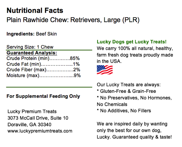 Lucky Premium Treats Plain Rawhide Retrievers Dog Treats for Large Dogs, Nutrition Label