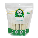 Lucky Premium Treats Plain Rawhide Dog Treats for Small Dogs, Bag