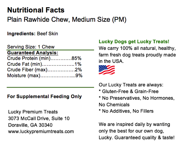 Lucky Premium Treats Plain Rawhide Dog Treats for Small Dogs, Nutrition Label