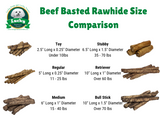 Beef Basted Rawhide Dog Treats Stubby's for Medium / Large Dogs