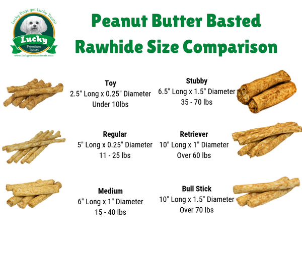 Peanut Butter Basted Rawhide Dog Treats for Medium Dogs