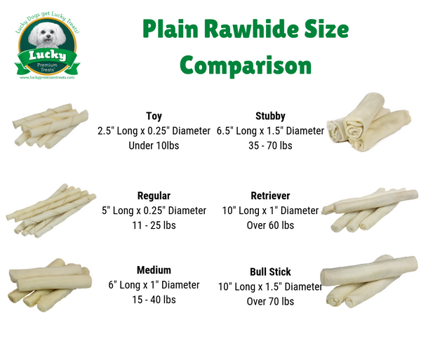 Rawhide Dog Treats Bull Sticks for Large Dogs, Plain