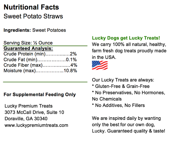 Lucky Premium Treats Sweet Potato Straws Dog Treats, Nutrition Label