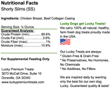 Lucky Premium Treats Shorty Slims, Chicken Jerky, nutrition label