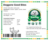 Lucky Premium Treats Dog Treats - Chicken Jerky Doggone Good Bites small bag nutrition label