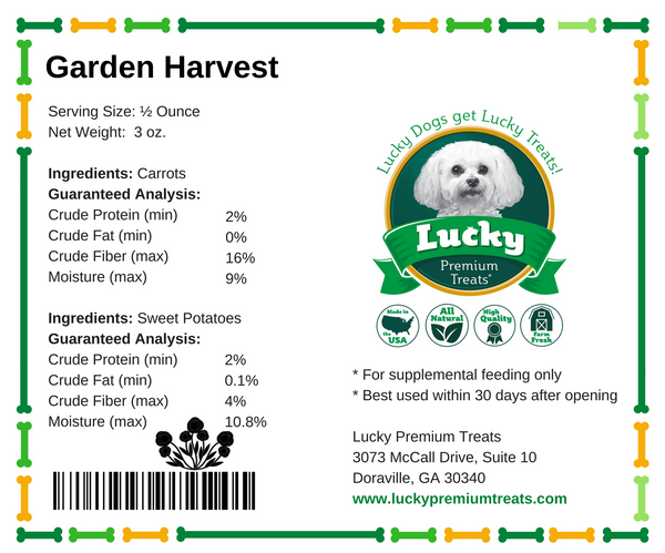 Lucky Premium Treats Garden Harvest Dog Treats - Carrot Medallions & Sweet Potato Sweetzies small bag nutrition label