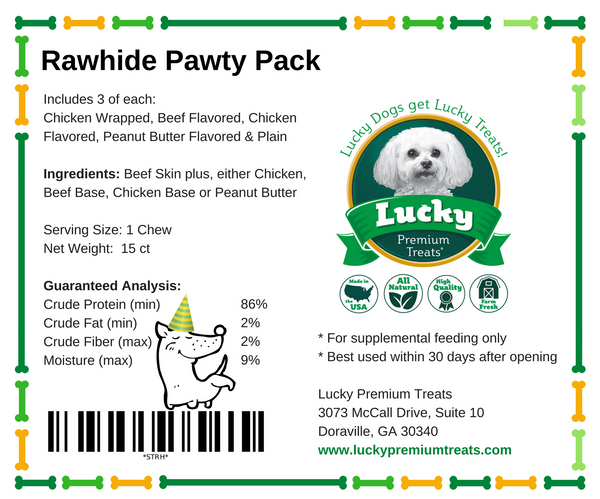 Lucky Premium Treats Dog Treats - Rawhide Pawty Pack small treat label