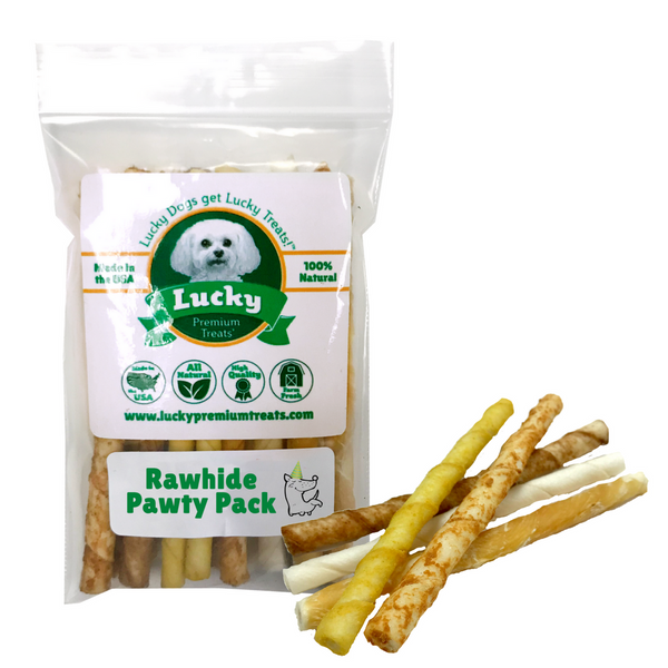 Lucky Premium Treats Dog Treats - Rawhide Pawty Pack small treat