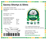 Lucky Premium Treats Dog Treats - Lucky Shortys & Slims small bags nutrition label