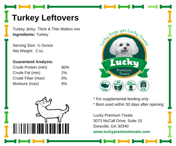 Lucky Premium Treats Fall Turkey Leftovers Dog Treats - Turkey Jerky small bag nutrition label