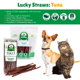 Lucky Premium Treats - Tuna Jerky Straws for Dogs and Cats, infographic