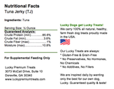 Lucky Premium Treats - Tuna Jerky for Dogs and Cats, Nutrition Label