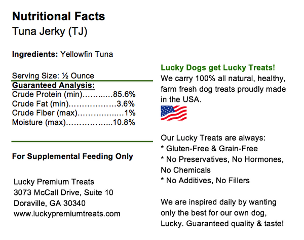 Lucky Premium Treats - Tuna Jerky Straws for Dogs and Cats, Nutrition Label