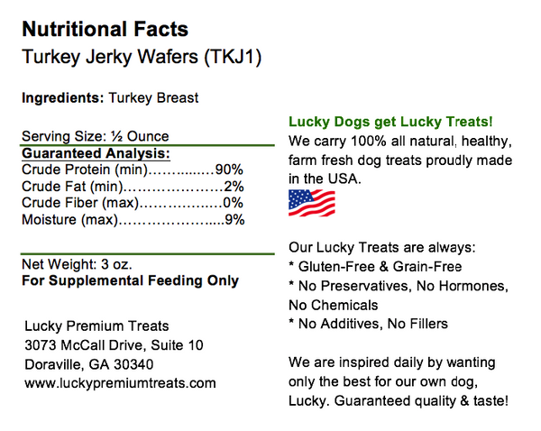 Lucky Premium Treats Turkey Jerky Wafers, nutrition label