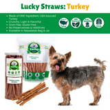 Lucky Premium Treats - Turkey Jerky Straws for Dogs, infographic