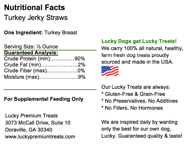 Lucky Premium Treats - Turkey Jerky Straws for Dogs, nutrition label