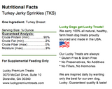 Lucky Premium Treats - Turkey Jerky Sprinkles Dog Treats, Nutrition Label