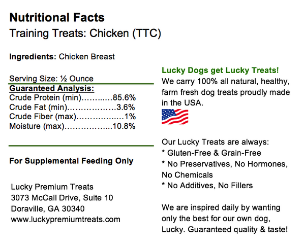 Lucky Premium Treats - Chicken Jerky Training Treats, Nutrition Label
