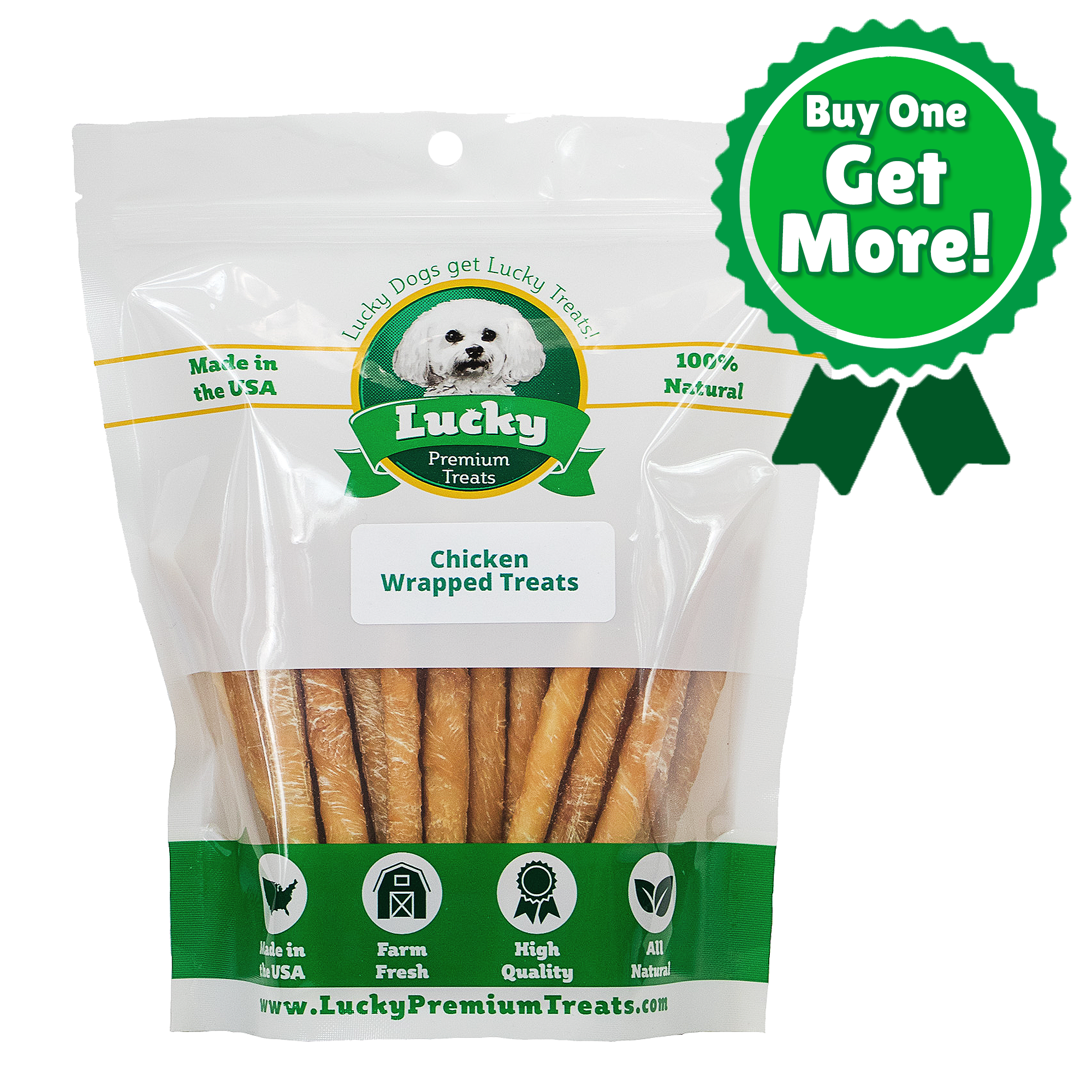 Chicken Wrapped Rawhide Treats for Small Dogs - Buy 100 Get 25 FREE! (125 Total Treats!)