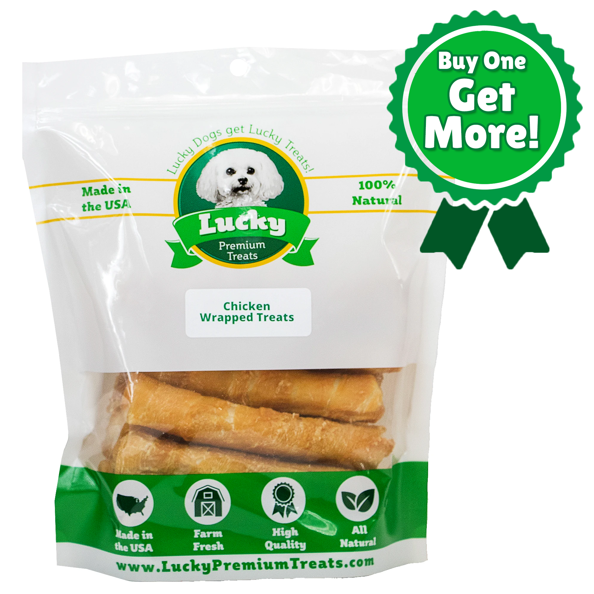 Chicken Wrapped Rawhide Treats for Medium Dogs - Buy 24 Get 5 FREE! (29 Total Treats!)