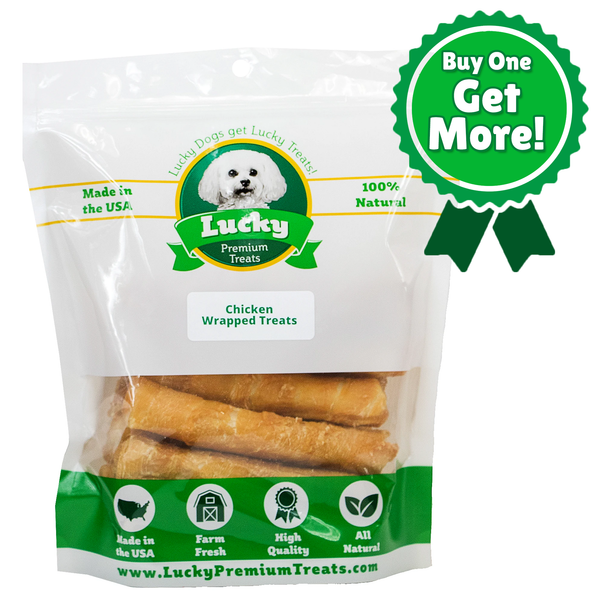 Chicken Wrapped Rawhide Treats for Medium Dogs - Buy 36 Get 9 FREE! (45 Total Treats!)
