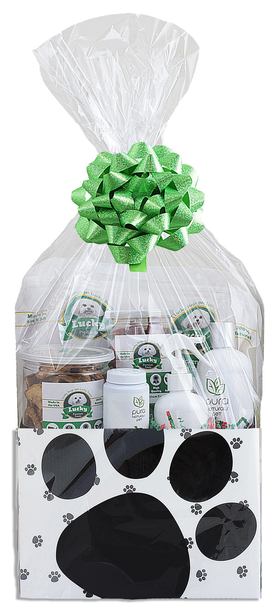 Gift Basket for Medium Dogs: Lucky Premium Treats and Pura Naturals Pet Care Products