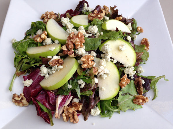 Salad with Apple, Gorgonzola, Walnuts with Raspberry Vinaigrette