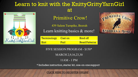 LEARN TO KNIT AT PRIMITIVE CROW