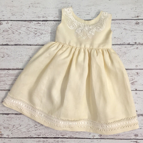 Yellow Linen Dress with Lace Collar