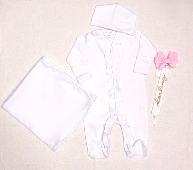 White ruffle  take home outfit