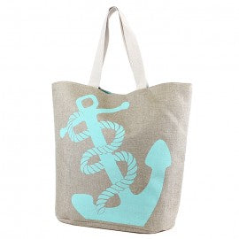 Mint Anchor Canvas Beach Bag