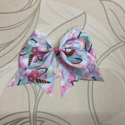 Unicorn Hearts Cheer Bow
