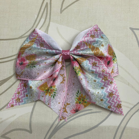 Glitter Unicorn Cheer Bow
