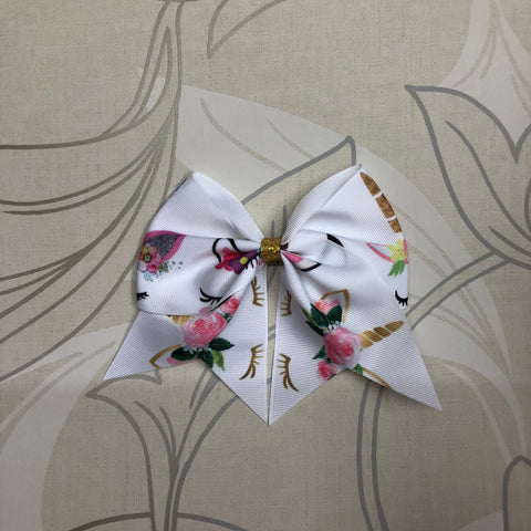 White Unicorn Cheer Bow