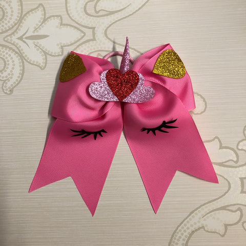 Unicorn Hearts Hair Tie Cheer Bow