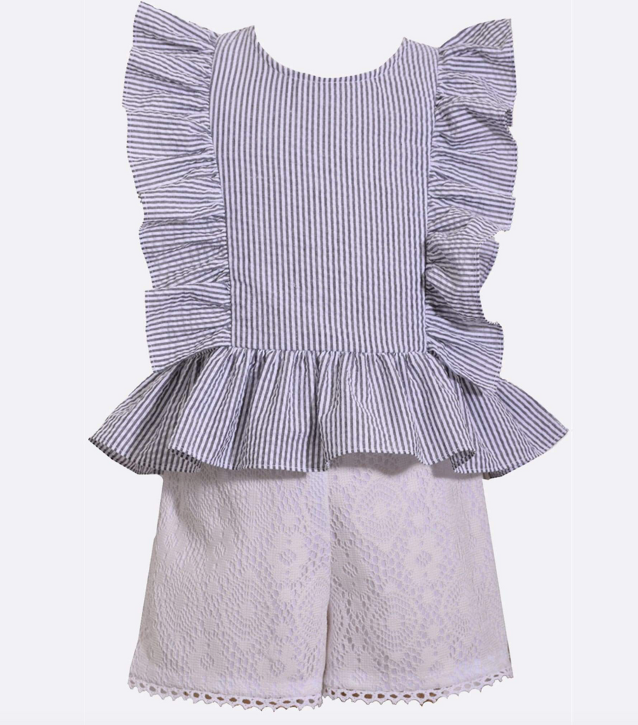 Striped Ruffle Top and Short Set