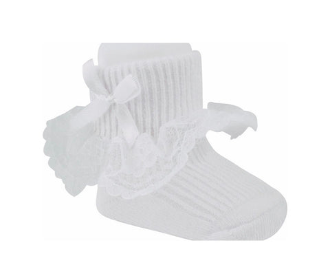 White Lace Ruffle Dress Socks with bows.