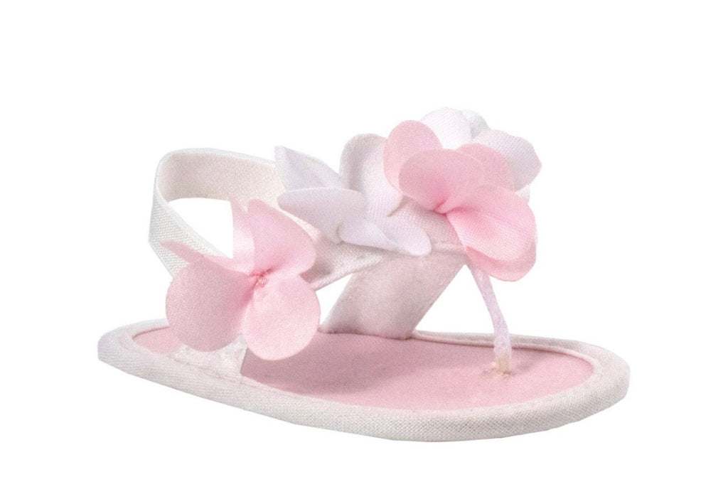 White Fabric Sandals with Flowers