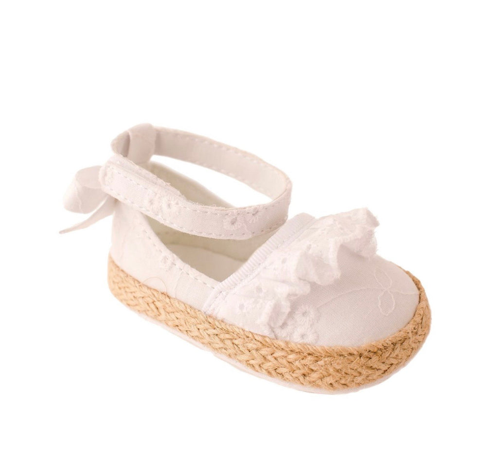 White Eyelet Espadrille Flats with Ankle Straps
