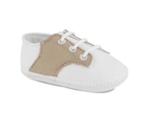 White/ Tan Cotton Crib Shoes