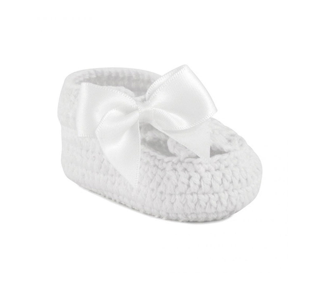 White Crochet Booties with Bow