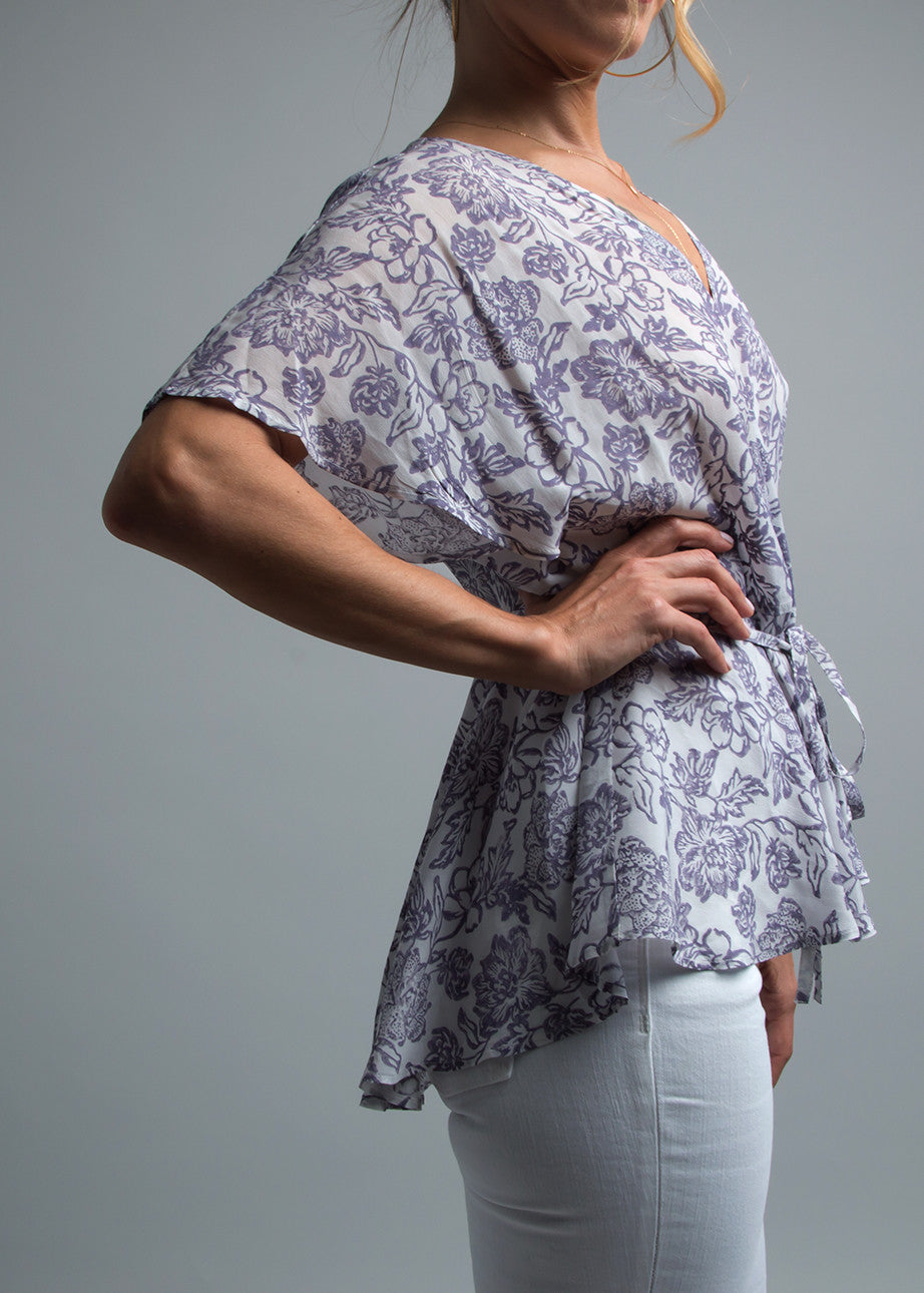 Flutter Sleeve Wrap Top in Floral