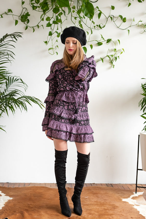 THE TIERED RUFFLE MINI AUBERGINE