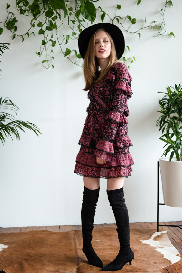 THE TIERED RUFFLE MINI BURGUNDY