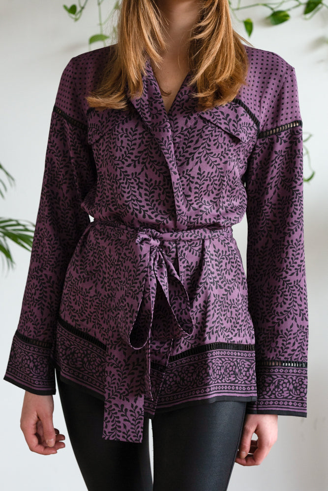 THE ROBE JACKET AUBERGINE