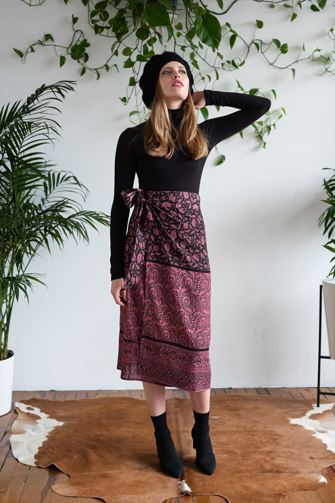 WRAP MIDI SKIRT BURGUNDY