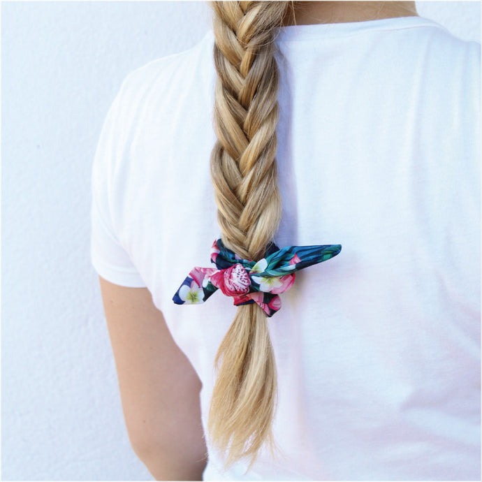 Tropical Black Bow Schrunchie